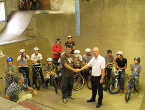 Picture of Malcolm French presenting yours truly with a cheque from Bridport Rotary Club. Also thanks to Sherborne Youth Club for a generous donation